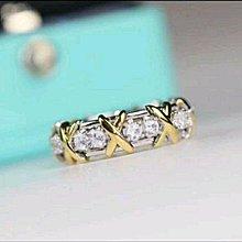 x的地方黃k金 費用$22000客定制18K金鑲嵌碧璽 T款交叉戒指女款 指環男女款 時尚個性FOREVER鑽寶