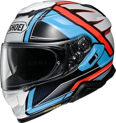瀧澤部品 日本SHOEI GT-AIR II 2 全罩安全帽 TC-2 HASTE 白藍紅 彩繪 加長內墨片 通風
