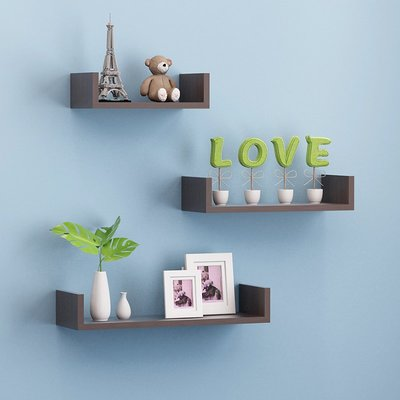 ins熱銷-墻上置物架創意免打孔臥室客廳壁掛式書架電視背景墻裝飾一字隔板#置物架#創意#墻壁置物架#裝飾
