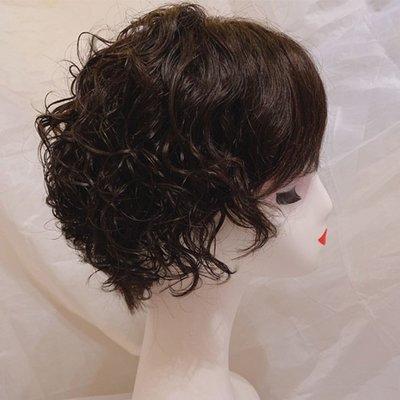 整頂假髮真髮絲短假髮-手織蓬鬆波浪捲髮女假髮2色73vr6[獨家進口][米蘭精品]