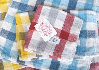 [暖遊小時光] 現貨 日本製 kontex 格紋方巾32x32cm 今治毛巾 洗臉毛巾
