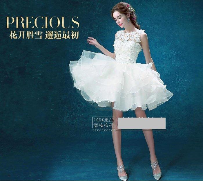 天使佳人婚紗禮服量身定做-------白色伴娘服新娘短款露背主持人小禮服