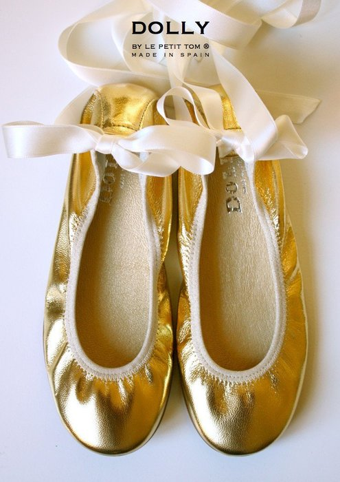 ❤Shopaholic❤荷蘭精品Dolly芭蕾舞伶真皮絲緞童鞋-奢華金