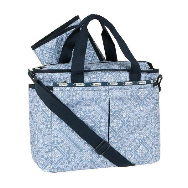 LeSportsac 藍色氣質圖騰 媽媽包媽咪包手提單肩包斜背包7532 附同款尿布墊 限時優惠