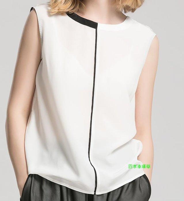 ☆四季幸運草Clover shop☆寬鬆白色無袖真絲T恤外穿上衣