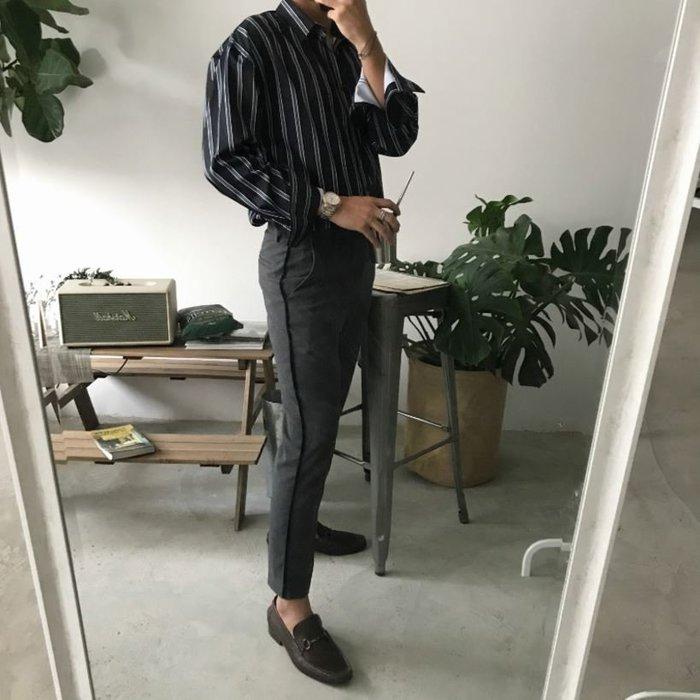【NoComment】韓系時尚 質感簡約 側橫條休閒西裝褲 兩色 ZARA UNIQLO