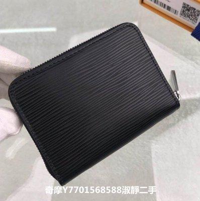淑靜二手 Louis Vuitton 路易威登 ZIPPY黑色水波紋拉鏈零錢包 M60152卡包 LV短夾 錢包