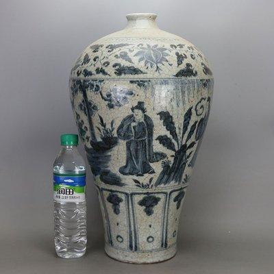 ㊣姥姥的寶藏㊣元代青花人物紋紋梅瓶 古董 古玩
