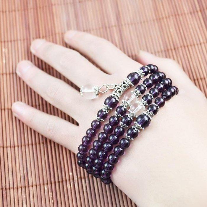 現貨/多層十二生肖紫色手鍊合成水晶手環手串手飾品女款佛珠子串珠動物21SP5RL/ 最低促銷價