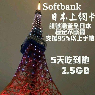 日本上網卡SoftBank五天吃到飽4G/3G 日本上網 日本網卡 日本sim卡 日本網路卡