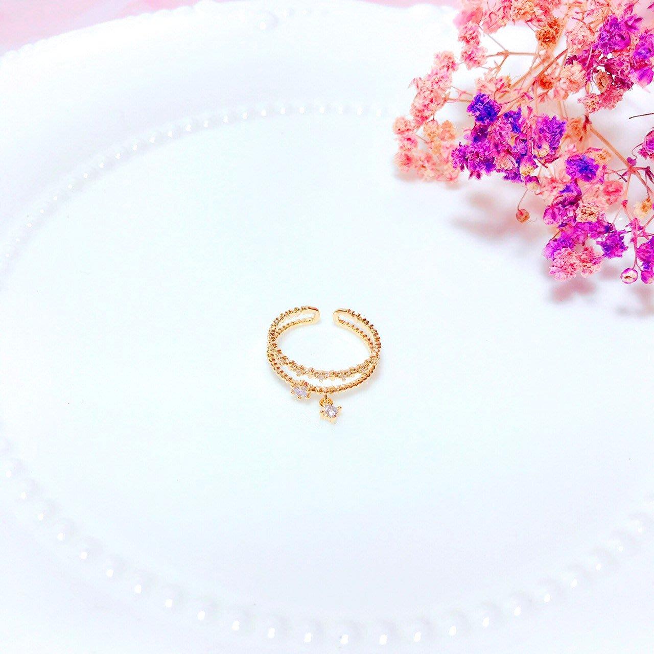 韓國❤️雙層 排鑽 垂墜 水鑽 可調節 造型 戒指【Verinas韓系美飾】