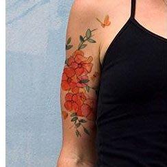 【萌古屋】紅色花朵 - 男女防水紋身貼紙刺青貼紙AQ-012 K19