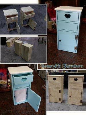 美生活館-- 客訂全實木 藍 白 面紙投入式垃圾桶/收納櫃/電話櫃/角落櫃/置物櫃--有現貨
