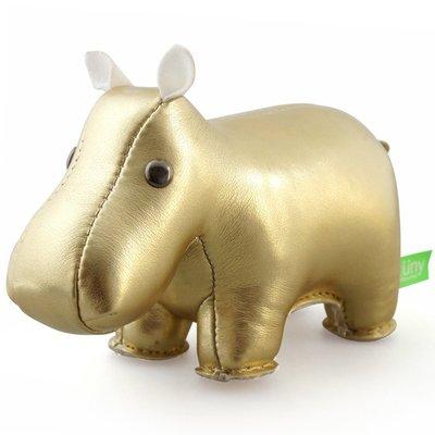 Zuny 河馬造型紙鎮 金色聖誕限量款! 動物造型皮革桌上擺飾車飾,idea-dozen創意達人推薦