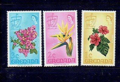 世界花朵-格瑞那達郵票-地方特色花卉-3V