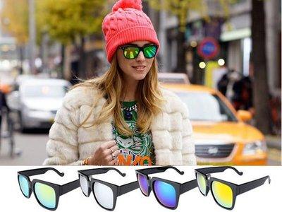 蝦靡龍美【EY281】美韓明星同款街拍黑膠框 修飾臉型 太陽眼鏡 水銀反光 墨鏡 情侶款歐美時尚太陽鏡 女士大框潮流墨鏡