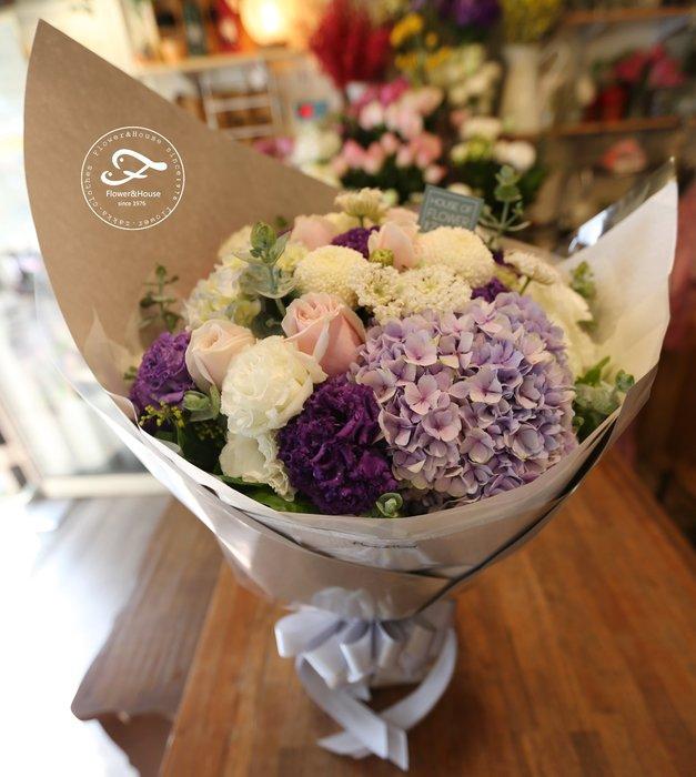 A69。期間限定。粉玫瑰桔梗繡球花束。生日。求婚。紀念日。歡迎自取【Flower&House花藝之家】