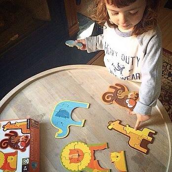 ~❤美國寶寶的衣櫥❤~ (現貨)美國Petit Collage 初階拼圖 野生動物 寶寶愛拼圖 精細動作訓練