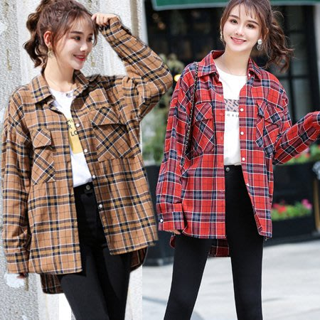 韓版復古寬鬆格子襯衫 男友風長袖格紋襯衫外套 2款【BC13032】