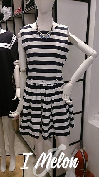 ::: i-MelOn ::: 100%韓國空運 正韓【現貨特惠】條紋海軍釦麻質洋裝/超值set上衣+裙兩穿