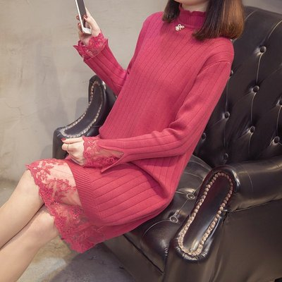 秋冬裝2020年新款過膝毛衣裙加絨厚高領寬松女士中長款蕾絲針織衫
