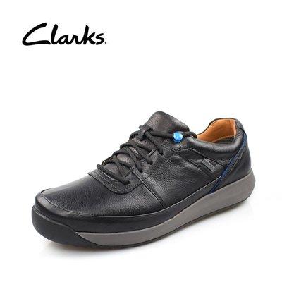 clarks克拉克男鞋GORE-TEX商務休閒防水皮鞋低幫系帶健步男鞋黑色光面39-44