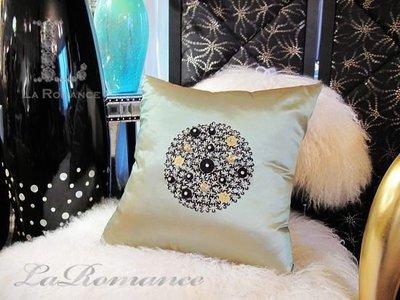 【芮洛蔓 La Romance】愛諾斯 Enos 系列手工縫珠抱枕 - 絢金綠 (小) / 腰枕 / 靠枕 / 靠墊
