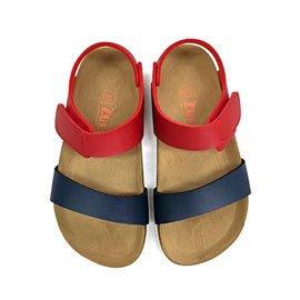 【ZULIBA熱銷款】中童足跡撞色二條帶涼鞋(17~23)-藍+紅