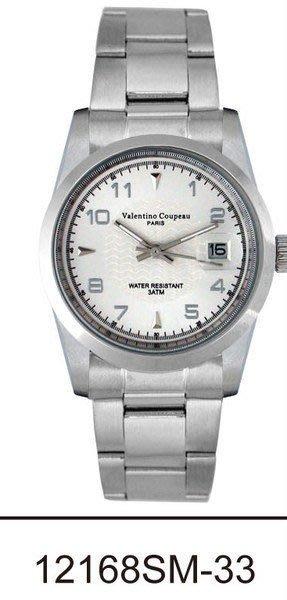 (六四三精品)Valentino coupeau(真品)(全不銹鋼)精準男錶(附保証卡)12168SM-33