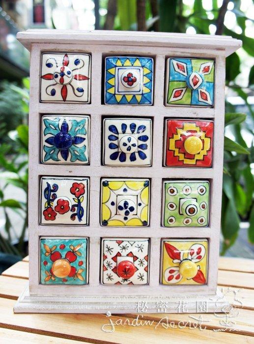 印度陶瓷彩繪櫃--新款印度彩瓷原木刷白桌上抽屜12格收納櫃/首飾櫃/擺飾--秘密花園