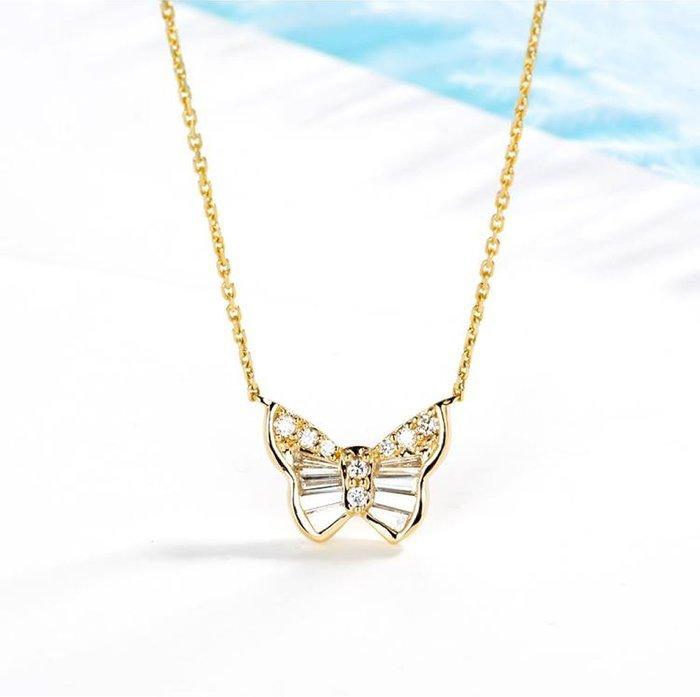 18k金蝴蝶造型鑽石項鏈