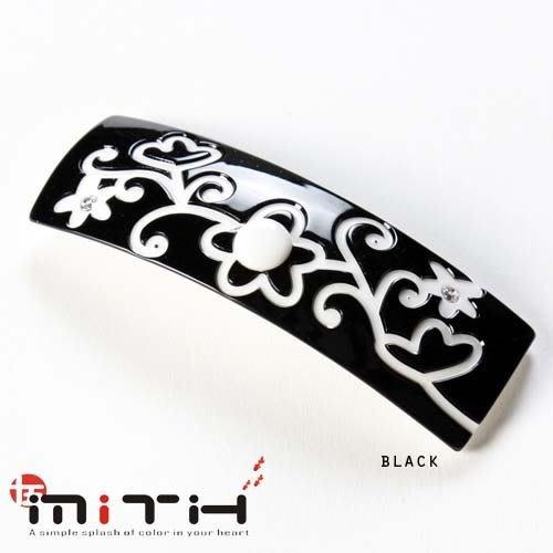 MITHX手創,三色,自然雕花草紋,大方,手工,自動夾,平夾,髮夾,黑白簡單,潮流時尚