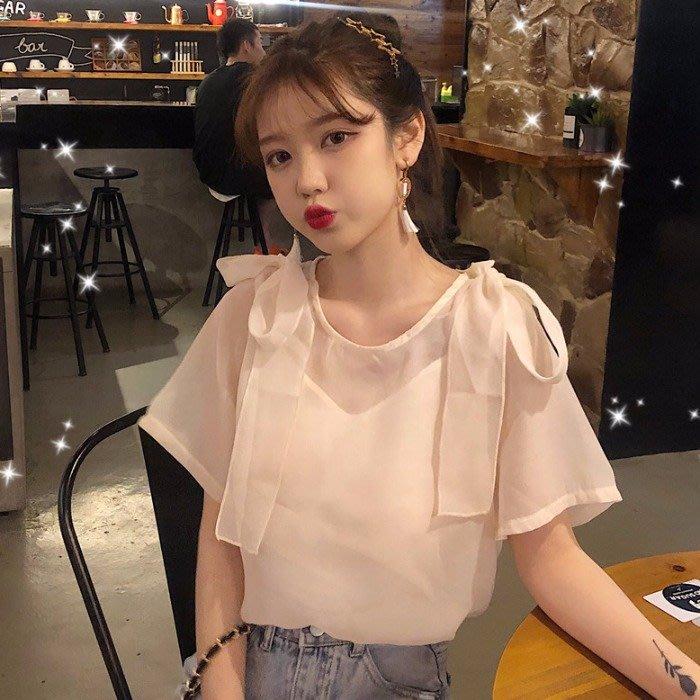 韓版 平口T恤 一字肩 女裝甜美綁帶蝴蝶結短袖雪紡衫上衣+吊帶背心兩件套