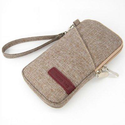 【GooMea】3免運 Samsung 三星 M11 6.4吋 亞麻布 拉鍊款 手拿袋 手拿 斜背 咖啡