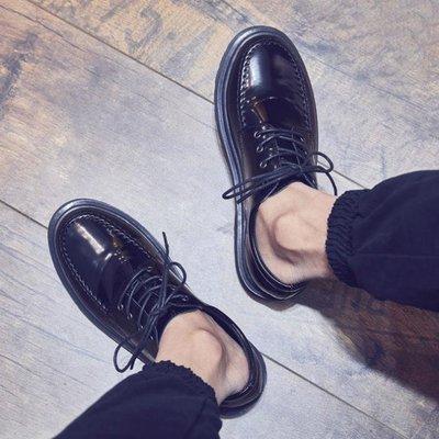 英倫皮鞋 商務真皮休閒休閑皮鞋男學生英倫鞋韓版潮流馬丁鞋 KB4339【FOLLOW ME】