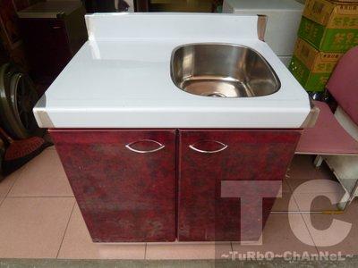 流理台【72公分洗台-右小水槽】台面&櫃體不鏽鋼 深紅色門板 最新款流理臺 台北市