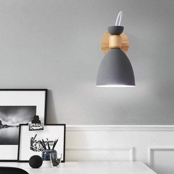 北歐馬卡龍壁燈過道簡約現代臥室床頭燈裝飾餐廳原木燈具【6-698源家精品】