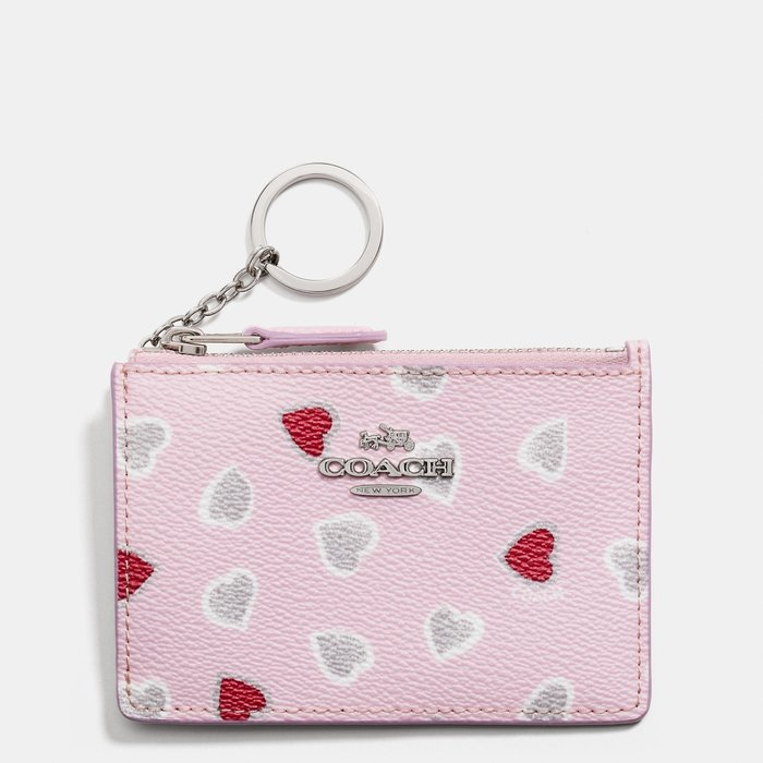 Coco小鋪COACH 65354 MINI ID SKINNY IN HEART PRINT心型印花帆布塗層迷你證件夾