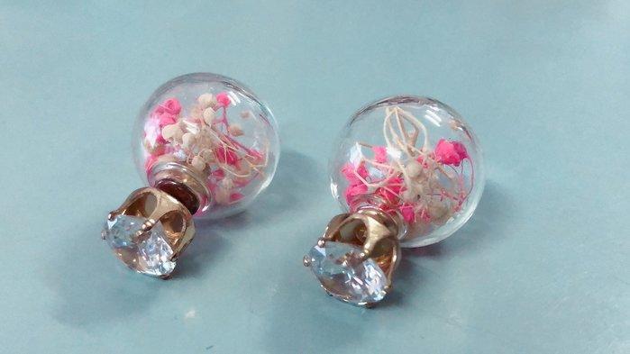 韓版代購 水鑽氣質粉紅花