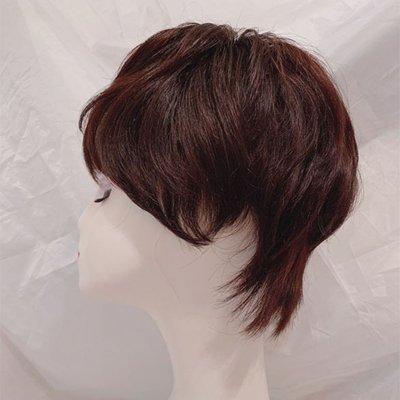 整頂假髮真髮絲短假髮-自然微捲氣質手織女假髮2色73vr5[獨家進口][米蘭精品]