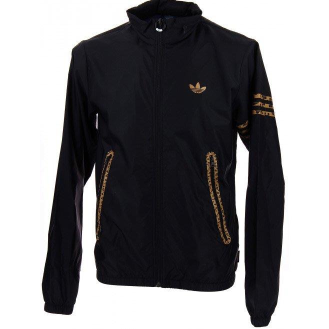 ADIDAS ORIGINALS LEOPARD WB 黑色豹紋防風外套