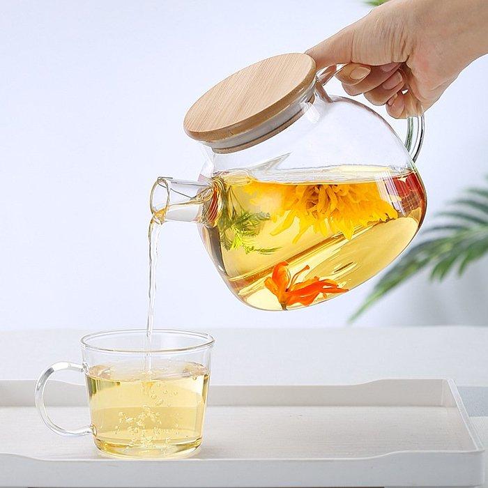 聚吉小屋 #耐高溫玻璃花茶壺 玻璃水壺可明火女士養生壺一壺2杯