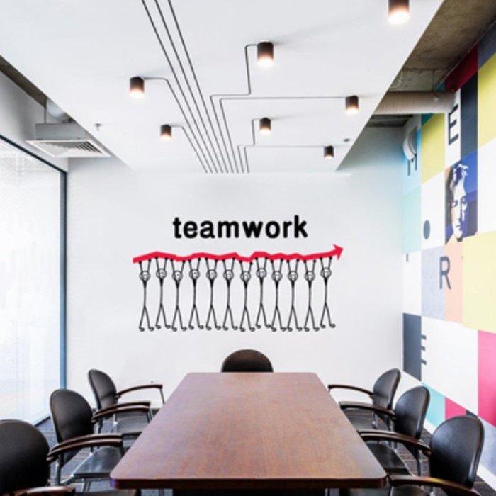 創意壁貼合作分公牆貼家用裝飾辦公室貼紙標識激勵志(小號)_☆優購好SoGood☆