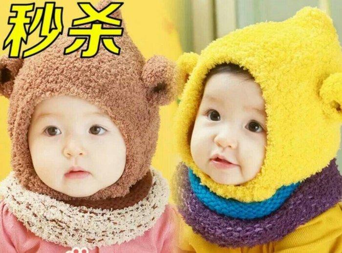 瞳瞳屋-代購批發韓版男女童寶寶帽子秋冬嬰兒帽子0~4歲兒童保暖內裡加絨毛線帽(帽子+圍巾)