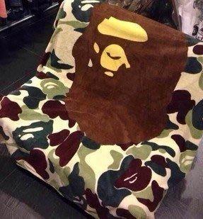嘉芸的店 日本空調毯 日本潮牌猿人APE珊瑚絨迷彩水貂絨毯130*150CM日本空調毯 毛毯 飛機蓋毯 彌月禮盒