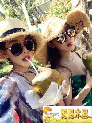 夏天度假帽子女遮陽帽字母拉菲草女士大草...