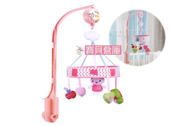 寶貝倉庫-粉色兔子-嬰兒玩具床頭鈴-音樂旋轉毛絨布藝床鈴-寶寶床掛-發條玩具-新生兒0-1歲-音樂盒-無需裝電池