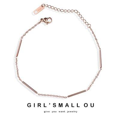 凱佩瑞思~時尚簡約細條腳鍊手鍊鈦鋼鍍18K玫瑰金飾品個性女禮物K012