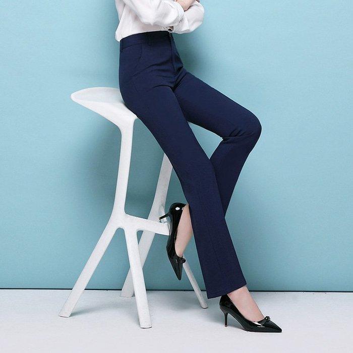 2017夏新款米色藏藍色高腰直筒職業正裝西裝褲休閒工作褲子女薄款