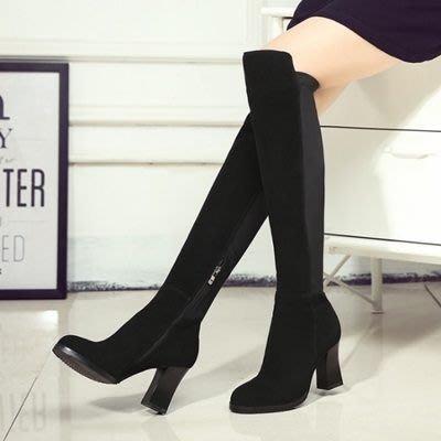真皮過膝靴 粗跟長靴-歐美時尚率性百搭女鞋73iv32[獨家進口][米蘭精品]